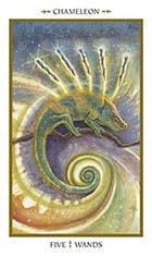 5 of Wands - Chameleon